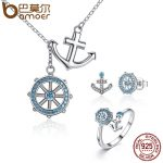 BAMOER Authentic 925 Sterling <b>Silver</b> Blue Anchor & Rudder Pendants & Necklaces Jewelry Sets Sterling <b>Silver</b> Jewelry ZHS035