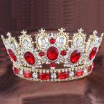 Red Crystals gold – color Big Tiara Crown Rhinestone bridal crown Headbands <b>Wedding</b> Bridal Hair <b>Jewelry</b> Accessories