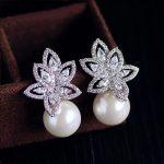 <b>Fashion</b> Luxury Multilayer Hollow Leaf Shaped AAA+Cubic Zirconia Stone Simulated Pearl Earrings Women <b>Jewelry</b> Birthday Gift