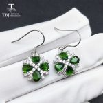 TBJ,Natural chrome diopside green 4ct real gemstone hook <b>earring</b> in 925 sterling <b>silver</b> for women as best gift with gift box