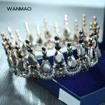 High-grade Baroque retro high-grade large round crown bridal <b>jewelry</b> <b>handmade</b> crystal crown <b>jewelry</b> HD428