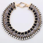 <b>Handmade</b> Ribbon Braided Big Statement Necklace for Women Fashion Party Necklace Vintage <b>Jewelry</b> Collier Femme