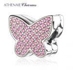ATHENAIE European 925 <b>Silver</b> Clips Pave Clear CZ Sparkling butterfly Charm Beads Color Pink Fit European Charm <b>Bracelet</b> Necklace