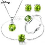 MoBuy Natural Gemstone Green Peridot 4pcs <b>Jewelry</b> Sets 100% 925 <b>Sterling</b> <b>Silver</b> For Women & Girls Fine <b>Jewelry</b> V018EHNR