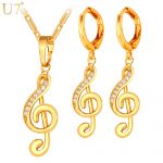 U7 Gold Color Musical <b>Jewelry</b> Set For Women Gift AAA Cubic Zirconia Music Note Symbol Drop Earrings And Necklace Set S851