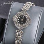 JIASHUNTAI Vintage 100% <b>Silver</b> 925 Watch For Women Retro 925 Sterling <b>Silver</b> Clock Female Fashion <b>Bracelets</b> Watch Jewelry