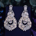 GODKI 72mm Luxury Popular Luxury Leaf Flowers Full Mirco Paved Crystal Zircon Naija <b>Wedding</b> Earring Fashion <b>Jewelry</b>