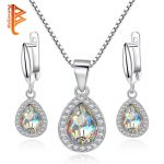 BELAWANG 925 Sterling <b>Silver</b> Jewelry Sets for Women with Sparking White Austrian Crystal Luxury Wedding Jewelry Accessories Gift