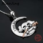 New arrival 925 sterling silver I love you puppy dog holding the rose pendant chain necklace diy fashion <b>jewelry</b> <b>making</b> gifts