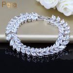 Luxury 925 Sterling Silver <b>Jewelry</b> Bridal Accessories Leaf Shape CZ Crystal Stone Big Wedding Bracelets & Bangle For Brides B025