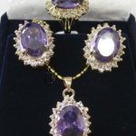 Women's Wedding Faceted Russican gem pendant necklace earrings ring set 5.23 silver-<b>jewelry</b> brincos real silver-<b>jewelry</b>