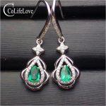 Fashion emerald eardrop for party 100% natural emerald drop earrings solid 925 <b>sterling</b> <b>silver</b> emerald wedding <b>jewelry</b> for woman