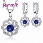 Jemmin Vintage Blue Austrian Crystal Pendant Necklace Earrings Set For Women Accessory Fine 925 <b>Sterling</b> <b>Silver</b> <b>Jewelry</b> Sets