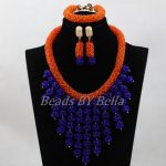 <b>Handmade</b> Orange and Royal Blue Wedding Bib Statement Necklace Set Women <b>Jewelry</b> Set for Party Anniversary Free Shipping ABL154