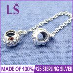 LS High Quality Real 925 Silver Hearts Safety Chain Fit Original bracelete Charms Pulseira Encantos.100% Fine <b>Jewelry</b> <b>Making</b>