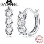 GAGAFEEL Romantic AAA Crystal Small Hoop Earrings 925 Sterling Silver Women Brinco <b>Fashion</b> <b>Jewelry</b> Party Birthday Gift