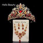 Vintage Baroque Wedding Hair <b>jewelry</b> Princess Queen Crystal Crown Large Red Rhinestone Tiara Golden Diadem For Women Accessories