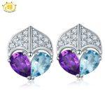 Hutang 2017 New Arrival Real Blue topaz & Amethyst Stud Gemstone <b>Earrings</b> Solid 925 Sterling <b>Silver</b> Gemstone Fine Jewelry Women