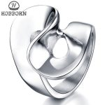 HOBBORN New Design Women Ring Titanium Steel <b>Antique</b> Geometry Pattern Luxury Female Silver Rings Fingers <b>Jewelry</b> Friendship Gift