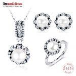 LZESHINE 925 Sterling <b>Silver</b> Classic Pearl Jewelry Sets Stud <b>Earrings</b>/Pendant/Ring Set For Women <b>Silver</b> Wedding Jewelry Gift