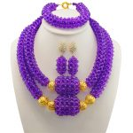 Dubai Bridesmaid Necklace Set 2017 Nigerian Wedding Costume Statement Jewelry Choker African Beads Jewelry Sets For Women