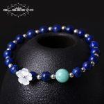 GLSEEVO 925 <b>Silver</b> Handmade National Wind <b>Bracelet</b> Temperament Natural Shell Flower Lapis Lazuli Stone <b>Bracelet</b> Bileklik GB0035