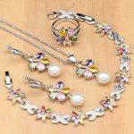 Flower Multicolor Zircon White Pearls 925 <b>Silver</b> Jewelry Sets For Women Wedding Earrings/Pendant/Ring/<b>Bracelet</b>/Necklace Set