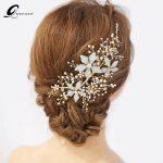 QUEENCO Crystal Beads Bridal Hair Accessories Blue Color <b>Wedding</b> Hair <b>Jewelry</b> Headdress Girl's Tiaras Headpiece Ornaments