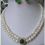 Prett Lovely Women's Wedding Noblest Authentic 8-9mm white Pearl necklace green stone earring set