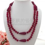 """N060101 50"""" Round Faceted CZ Micro Teardrop Beads Necklace"""