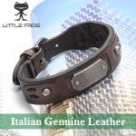 New <b>Fashion</b> Fine <b>Jewelry</b> Wide Men Italian Genuine Leather Bracelets Male Cuff Vintage Bracelet Personality Gifts PG009