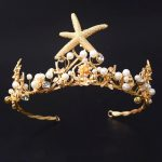 Vintage Gold starfish Bridal Crowns Pearl Bridal Tiara wedding Hair <b>Jewelry</b> Bridal Headbands Women Perty Headpiece Prom