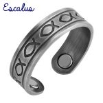 Escalus Ladies <b>Antique</b> Silver Color Trendy Magnetic Copper Ring Resizable Fish Magnets Women <b>Jewelry</b> Charm Finger Wear
