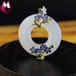 44MM Round Gemstone White Jade Pendant Enamel Gold Color Flower Fine <b>Jewelry</b> Genuine 925 Sterling <b>Silver</b> Necklade Hot Sale
