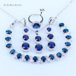 L&B For women Blue created Garnet White Zircon <b>silver</b> Color Jewelry Set <b>Bracelet</b>/Earrings/Pendant/Necklace/Ring