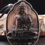 925 <b>Silver</b> Natural Ice Obsidian Handmade Carved Chinese Medicine Buddha Lucky Amulet Pendant + Beads <b>Necklace</b> Fashion Jewelry