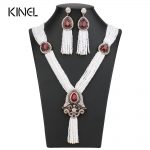 Kinel 2017 New Arrivals Nigerian Wedding Necklace Earring For Women <b>Handmade</b> African Beads <b>Jewelry</b> Set Party Christmas Gifts