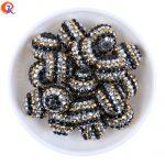R211 Free Shipping 20MM 100Pcs/Lot Gold Sliver Black Chunky Stripe Resin Rhinestone Beads <b>Handmade</b> Necklace <b>Jewelry</b> CDWB-701516