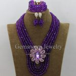 Purple Nigerian Wedding African Beads <b>Jewelry</b> Set Chunky Crystal Costume <b>Necklace</b> <b>Jewelry</b> Set 8MM Beads Free Shipping WB977