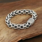 Men <b>Jewelry</b> Bracelets & Bangles 925 <b>Sterling</b> <b>Silver</b> Heavy Bracelets Vintage Rough Style Handmade Personality