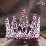 Mini Brides Pink Tiara Round Crown Austrian Rhinestone Headband Bridal Wedding Prom Pageant Party Costumes Hair <b>Jewelry</b>