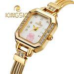 KingSky Fashion Dress Quartz Watch Women Ladies Gold <b>Silver</b> Luxury Brand with flower Crystal Rhinestone Wristwatch relogios