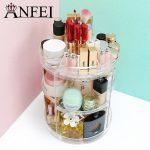 ANFEI <b>Fashion</b> 360-degree Rotating Makeup Organizer Box Brush Holder <b>Jewelry</b> Organizer Case <b>Jewelry</b> Makeup Cosmetic Storage Box