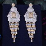 GODK 70mm Luxury Princess Tassels Full Mirco Cubic Zirconia Naija <b>Wedding</b> Women Earring Fashion <b>Jewelry</b>