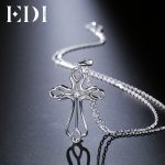 EDI Classic Cross Natural 0.02ct Round White Topaz 925 Sterling <b>Silver</b> Pendant For Women <b>Necklace</b> Fine Jewelry