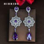 HIBRIDE Luxury Style Fashion Purple Cubic Zircon Earring For Women Brincos <b>Jewelry</b> <b>Wedding</b> Pendientes Mujer Moda E-830