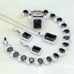 925 Sterling <b>Silver</b> Jewelry Black Zircon White Rhinestone Jewelry Sets For Women Wedding Earring/Pendant/Necklace/<b>Bracelet</b>/Ring
