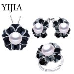 YIJIA Jewelry Set S925 Sterling <b>Silver</b> Party For Women Fashion High Luster Big Natural Freshwater Pearl Flower Jewelry Set