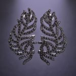 Dazz Fashion Gun Black Color Leaves Shape Punk Style Stud Earrings Full Zircon Copper <b>Accessories</b> For Women Girl Party <b>Jewelry</b>