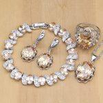 925 <b>Silver</b> Bridal Jewelry Sets Champagne Zircon Earrings For Women /Pendant/Necklace/Rings/<b>Bracelet</b> Indian jewelry